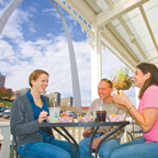 People on Riverboat in front of Gateway Arch