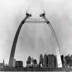 Construction of Gateway Arch historic photo