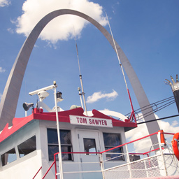 Riverboat Deck with Gateway Arch in Background