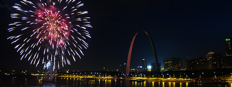 Fireworks on the Mississippi River