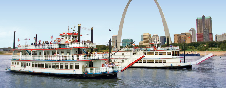 Two Riverboats in front of St. Louis