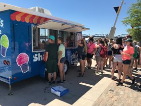 Archie's Shaved Ice trailer on the riverfront