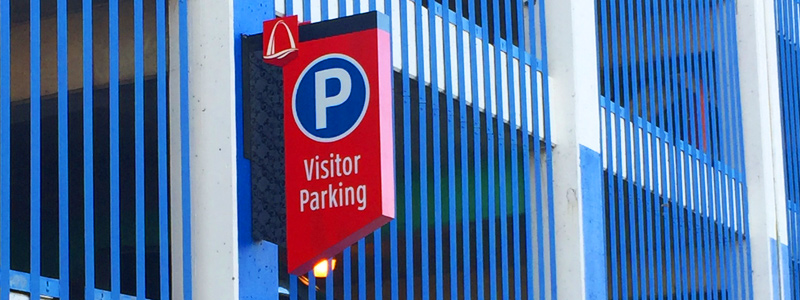 Visitor parking sign in downtown St. Louis