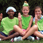 Group of young girl scouts