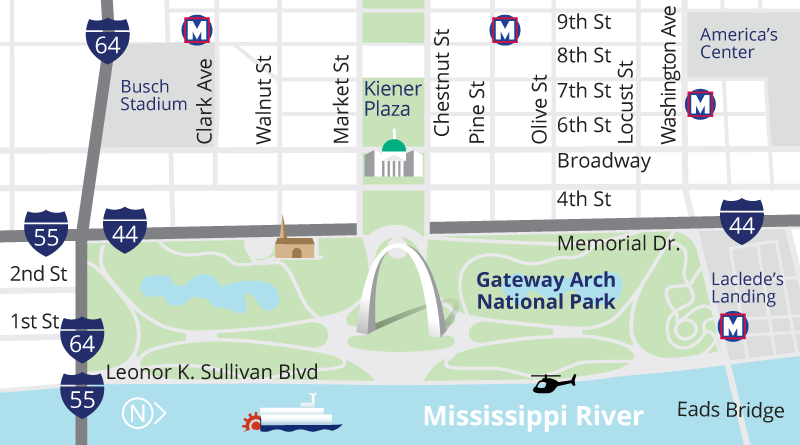 Map of Gateway Arch grounds, downtown St. Louis, showing Metro stations