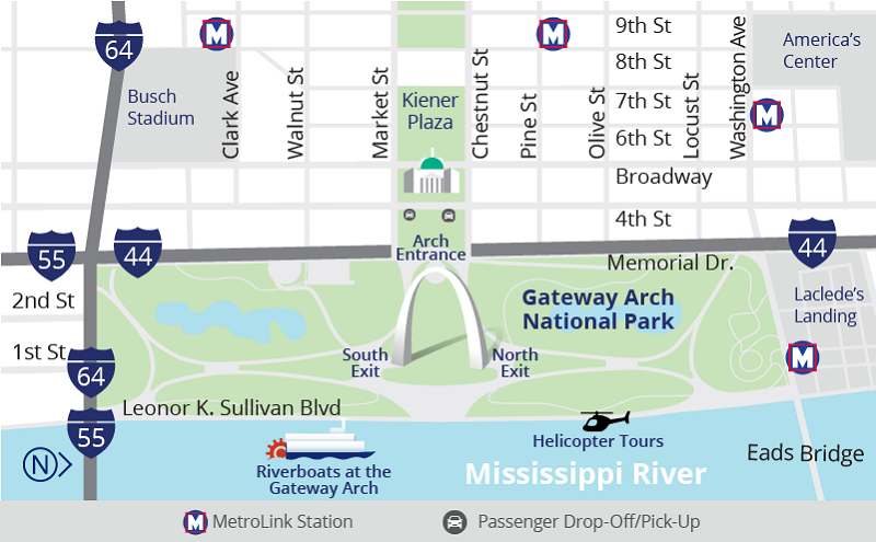 Illustrated Map of Gateway Arch National Park Grounds
