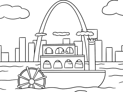Riverboat Coloring Page